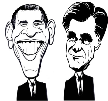 Obama Romney Charactertures